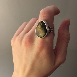 Jewelry - Sterling Silver Green Amber Ring
